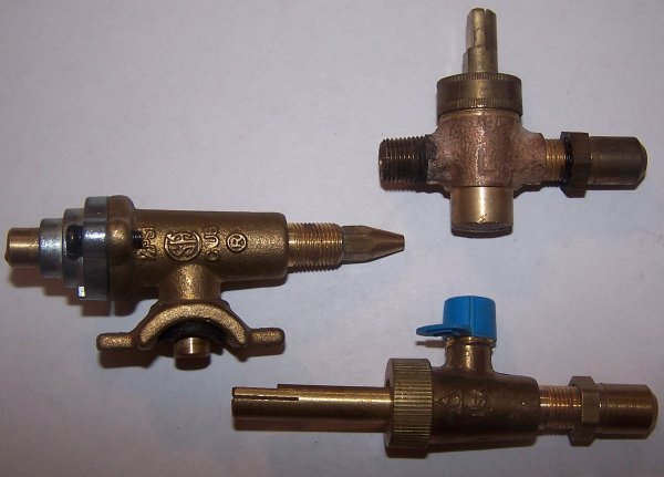 Various types of gas valves